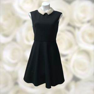 Betsey Johnson Fit Flare Dress Pearl Collar NWOT 8